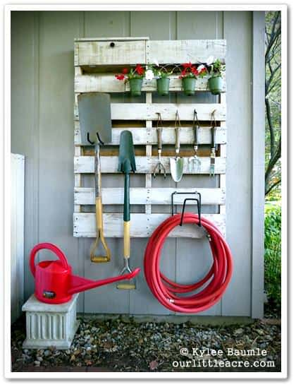 Pallet Garden Tools Hanger 1 • Do-It-Yourself Ideas