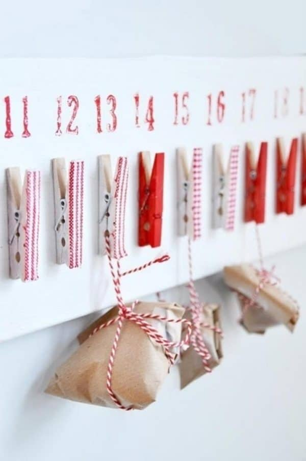 Clothespins Advent Calendar 1 • Do-It-Yourself Ideas