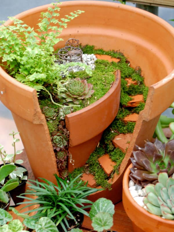 Broken Clay Pot Into Mini Garden 1 • Do-It-Yourself Ideas