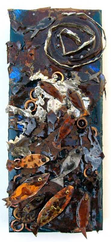 Assembled Artwords Using Recuperated and Found Objects Recycled Art