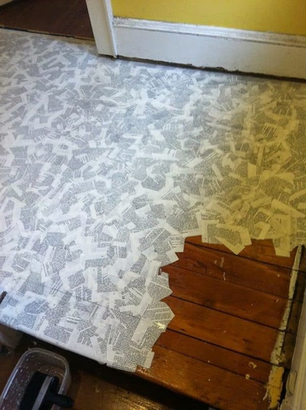How to Cover Your Floor with Book Pages 1 • Do-It-Yourself Ideas