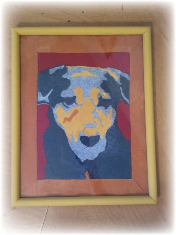Upcycled-T-shirt-Abstract-Art-Dog-framed