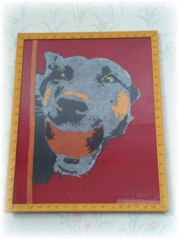 Upcycled-T-shirt-art-dog-framed