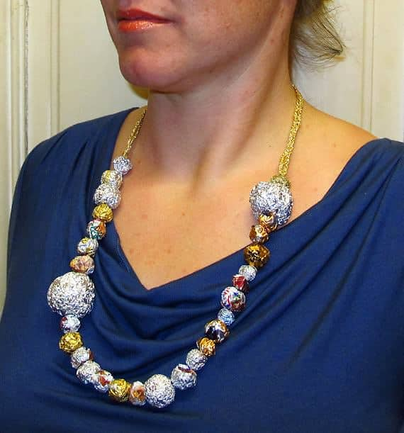 Necklace from Aluminum Foil, Candy Wrapper Balls, Globes and Spheres 1 • Upcycled Jewelry Ideas