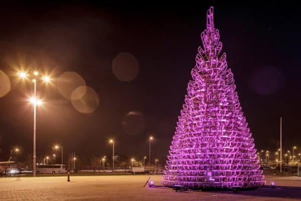 8-hello-woods-christmas-tree-made-out-of-365-sleighs-at-the-palace-of-arts-budapest