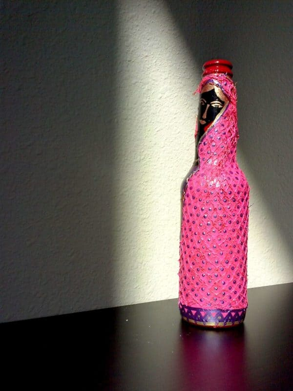 Pink Scarf - Folk Art on an upcycled beer bottle 05
