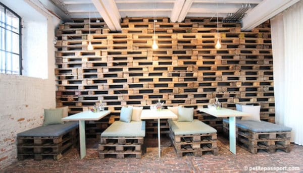 Pallet Wall for This Restaurant in Antwerp 1 • Recycled Pallets
