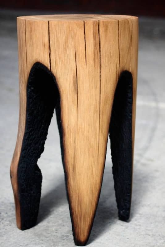 Wooden-Stool-made-by-Hollowing-with-Fire