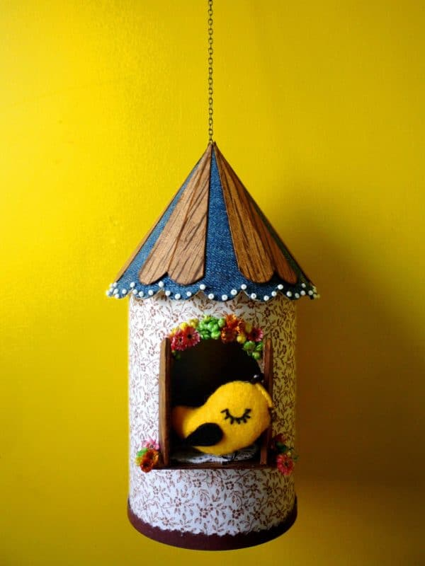 Birdhouse Made from Recycled Can, Scraps and a Cologne Box 1 • Do-It-Yourself Ideas