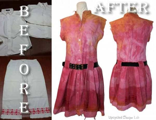 Upcycled Work Shirts To Refashioned Summer Dress 1 • Clothing