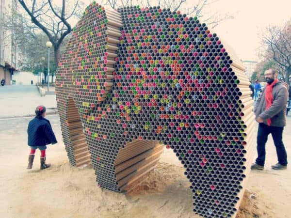 recycled-cardboard-tubes-elephant-1-740x555