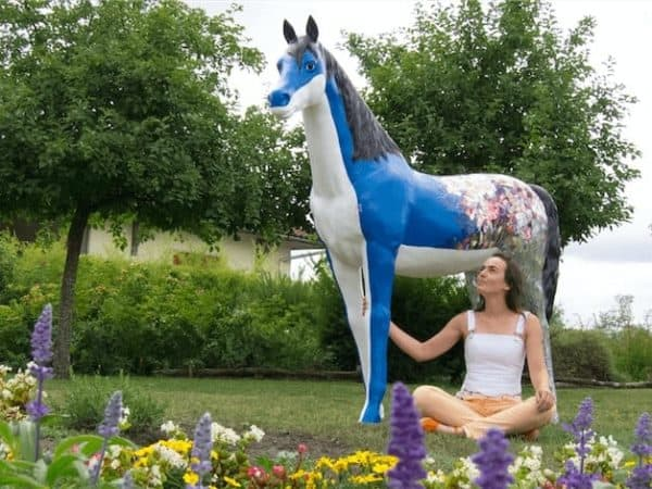 Horse Sculpture Decoration Made With Old Cds & Dvds 1 • Recycled Art
