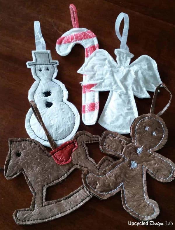 Upcycled-plastic-bag-Christmas-Ornaments