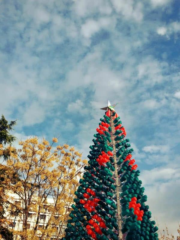 recyclart.org-christmas-tree-made-by-citizens-from-2200-recycled-plastic-bottles-in-elbasan-albania2