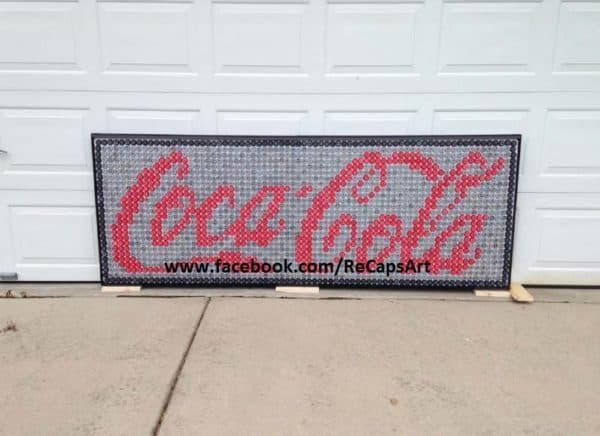 Coca-Cola Sign Made Out Of 2,000 Bottle Caps 1