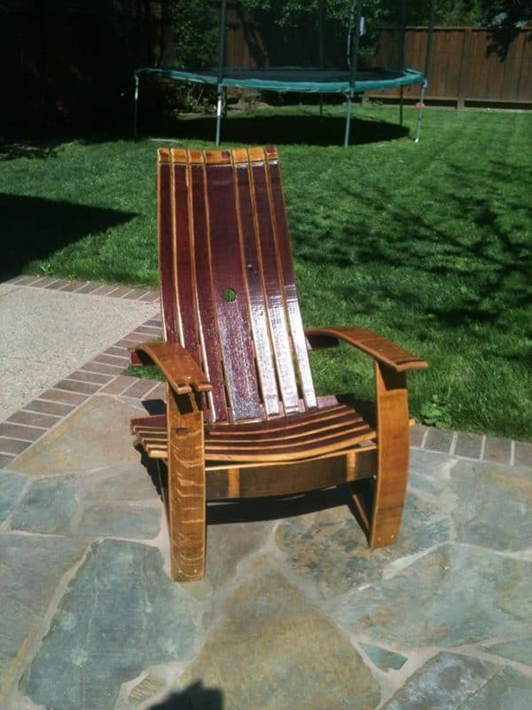 Oak Wine Barrel Adirondack Chair 1 • Recycled Furniture