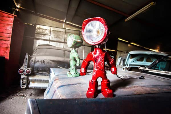 The Lampster: Little Robot Lights From Upcycled Vehicle Lamps 3
