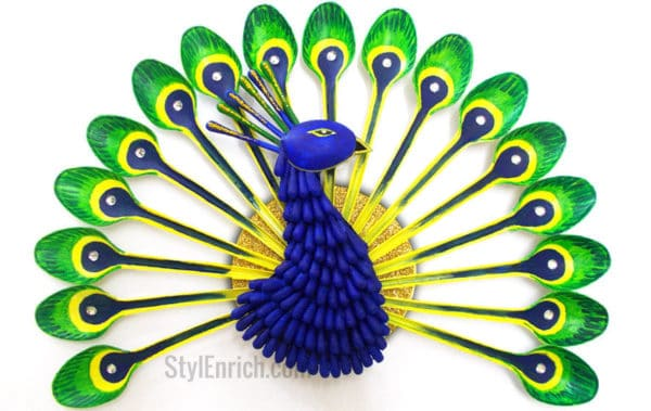 Diy: How To Make Beautiful Peacock With Plastic Spoon 17 • Recycled Art