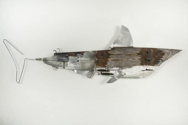 Driftwood Shark Sculpture Recycled Art Wood & Organic