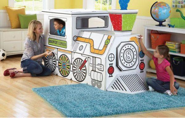 Cardboard-train-art