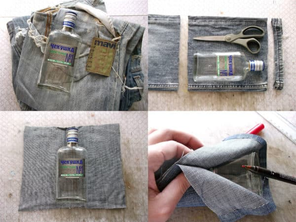 recyclart.org-how-to-make-flask-from-your-favourite-but-old-jeans-and-a-glass-bottle