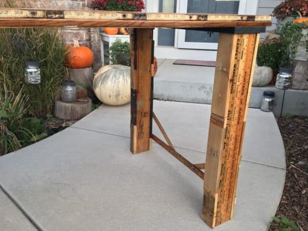Eclectic - Table Made from Old School House Door, Corn Shucker Gears, Yardstick, Pallets and Machinist Lamp 7 • Recycled Furniture