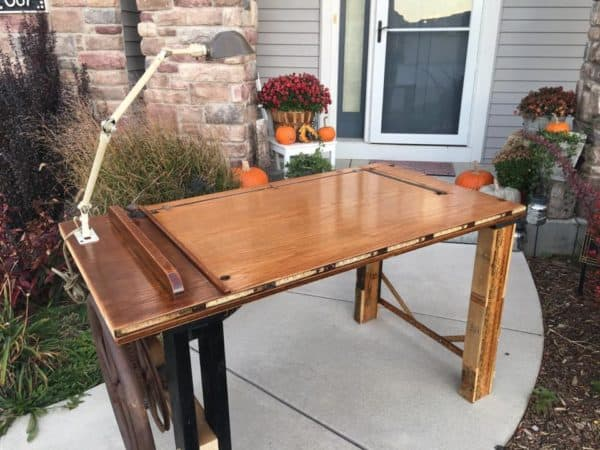 Eclectic - Table Made from Old School House Door, Corn Shucker Gears, Yardstick, Pallets and Machinist Lamp 1 • Recycled Furniture