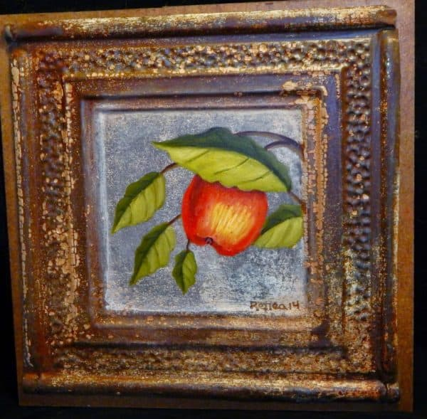 Apple on Tin Ceiling Tile 1 • Recycled Art