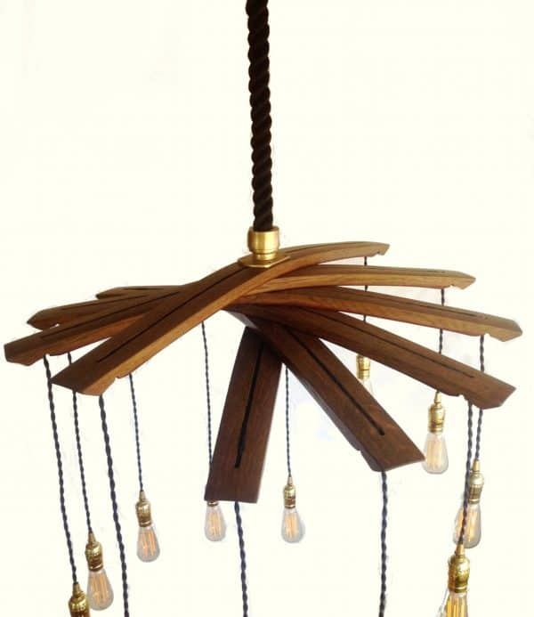 Lucciole, Recycled Wine Barrel Staves Large 12 Lights Chandelier 1 • Lamps & Lights