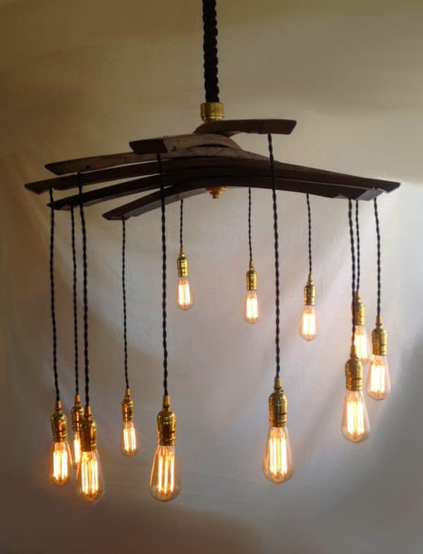 Lucciole, Recycled Wine Barrel Staves Large 12 Lights Chandelier 5 • Lamps & Lights