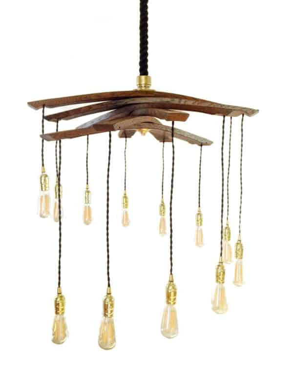 Lucciole, Recycled Wine Barrel Staves Large 12 Lights Chandelier 3 • Lamps & Lights