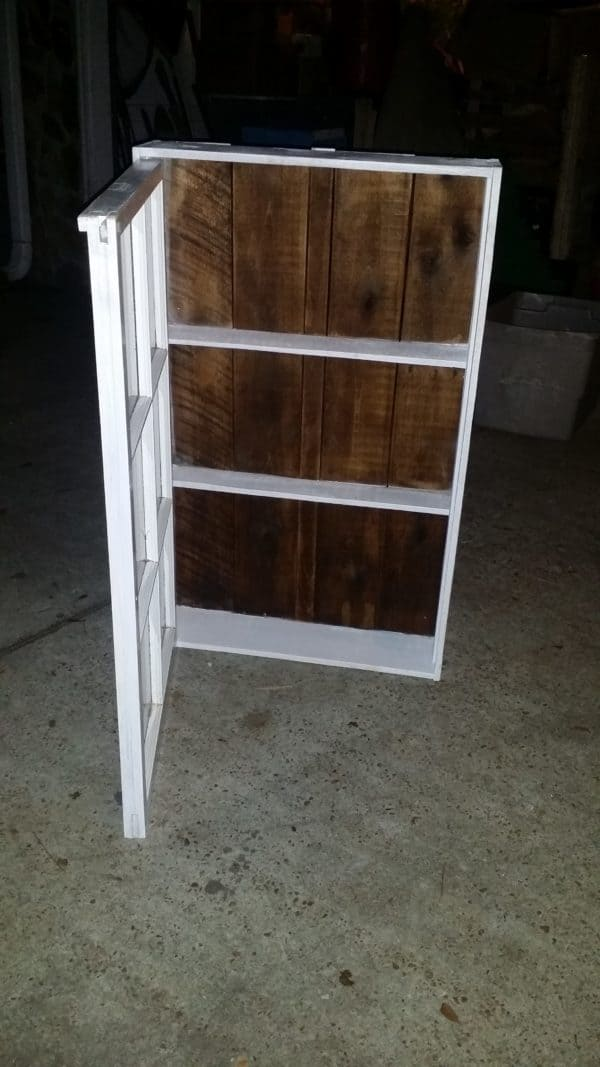Upcycled Windows & Pallet Wood into Bathroom Cabinet 9 • Recycled Glass