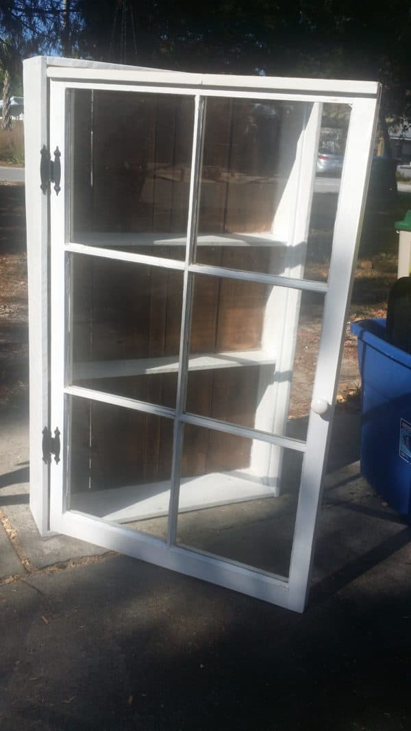 Upcycled Windows & Pallet Wood into Bathroom Cabinet 1 • Recycled Glass