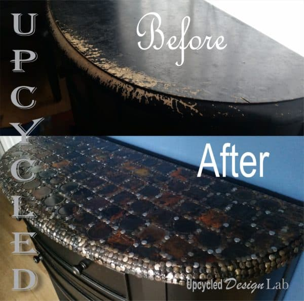 Upcycled Tin Can Lid Table Top Cover Up - Episode 4 of Dogs Vs Cats 3 • Recycled Furniture