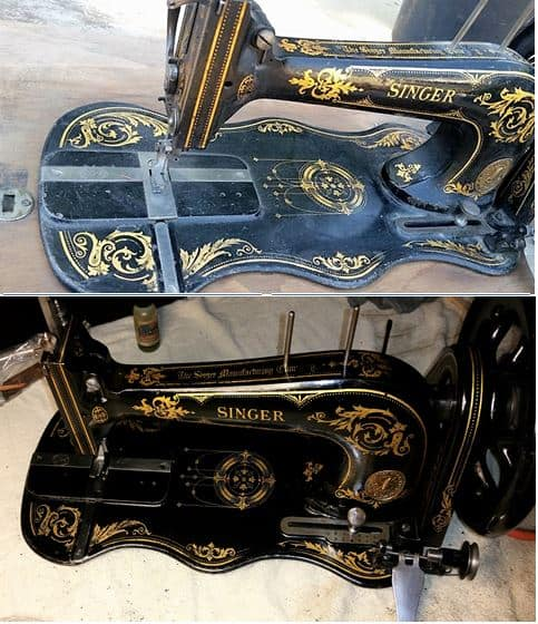 """Oil Your Sewing Machine - This is a 1889 Singer Model 13 Treadle head unit (the machine part). The top photo is the """"as-received"""" condition, and the lower photo shows what the machine looks like when it is wiped down carefully with sewing machine oil. It removes old oily residue and leaves it shiny!"""