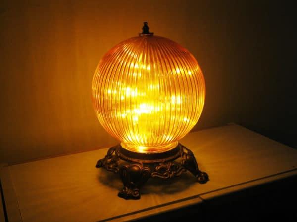 Funky Orange Globe Night Light Or Bedside Table Lamp 1 • Lamps & Lights