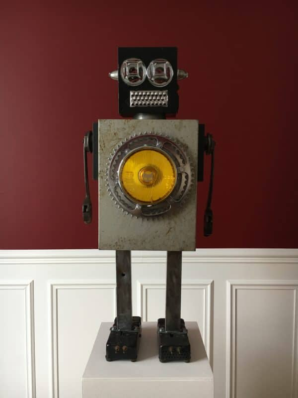 Luminous Upcycled Robot Sculpture Made From Junk 1 • Lamps & Lights