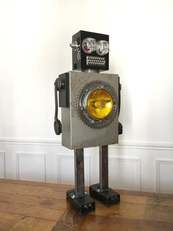Luminous Upcycled Robot Sculpture Made From Junk 3 • Lamps & Lights