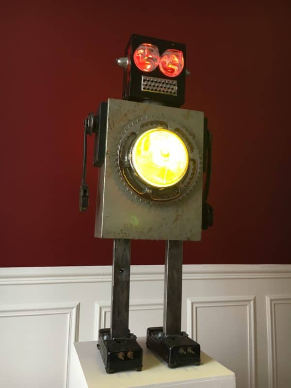 Luminous Upcycled Robot Sculpture Made From Junk 5 • Lamps & Lights