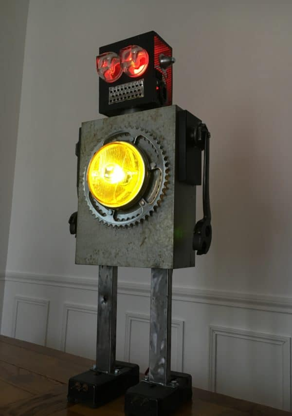Luminous Upcycled Robot Sculpture Made From Junk 7 • Lamps & Lights