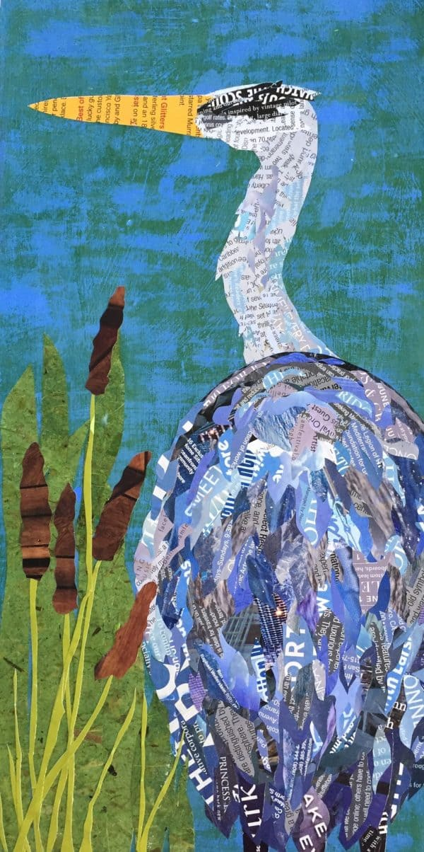 Mixed Media Art: Heron Hunting Wall Art 1 • Recycling Paper & Books