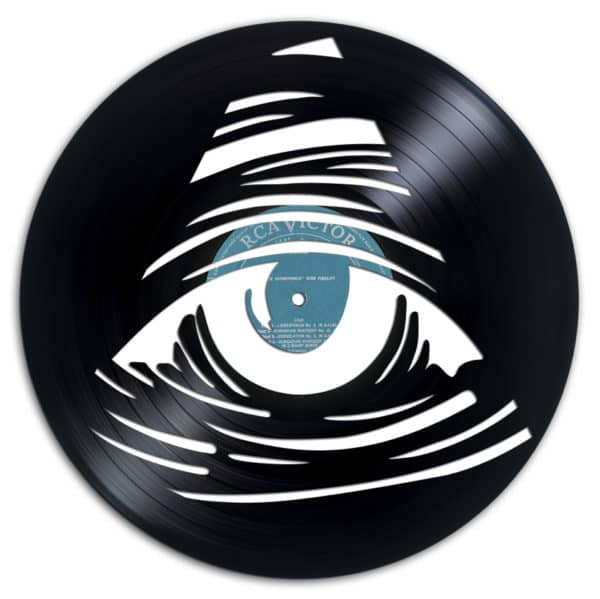 An Eye sculpture carved into Recycled Vinyl Records.