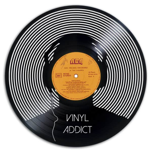 Spin it, DJ! This Recycled Vinyl Records features a sculpture of a person wearing headphones.