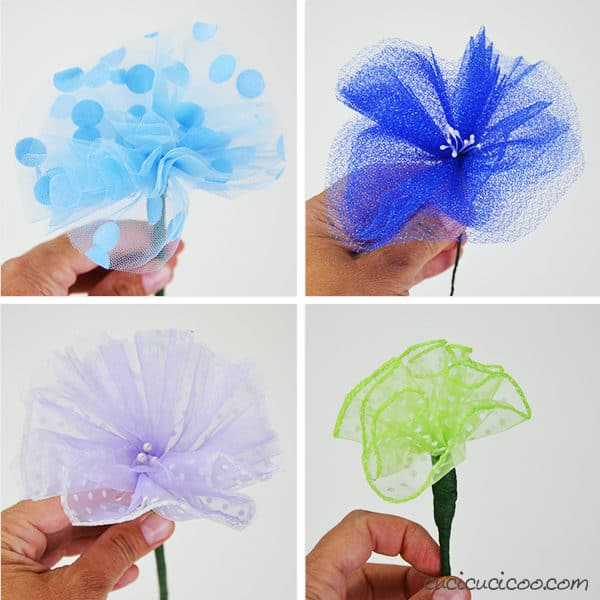 Simple Upcycled Tulle Flowers 5 • Do-It-Yourself Ideas