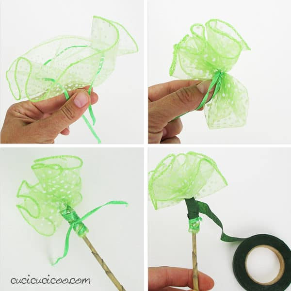 Simple Upcycled Tulle Flowers 3 • Do-It-Yourself Ideas