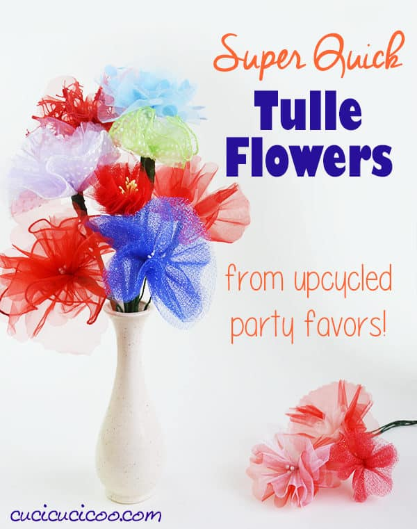 Simple Upcycled Tulle Flowers 1 • Do-It-Yourself Ideas
