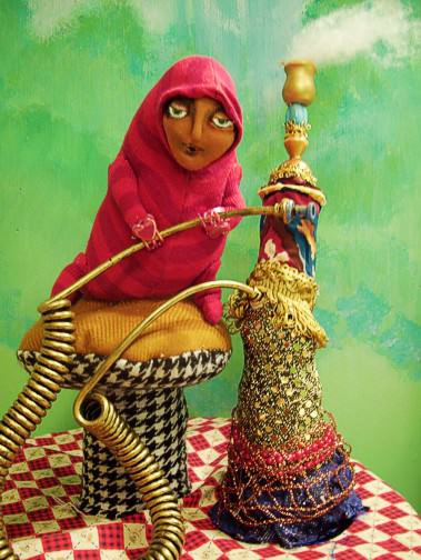 Upcycled Doll Projects add a doll and a hookah sculpture, and you've got . . . upcycled art!