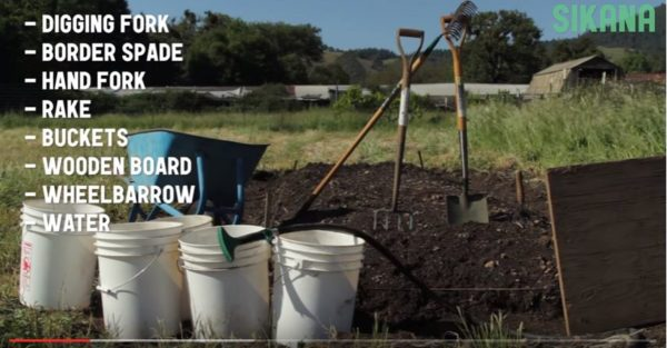 Biointensive Soil Prep list of supplies you'll need to create the perfect garden