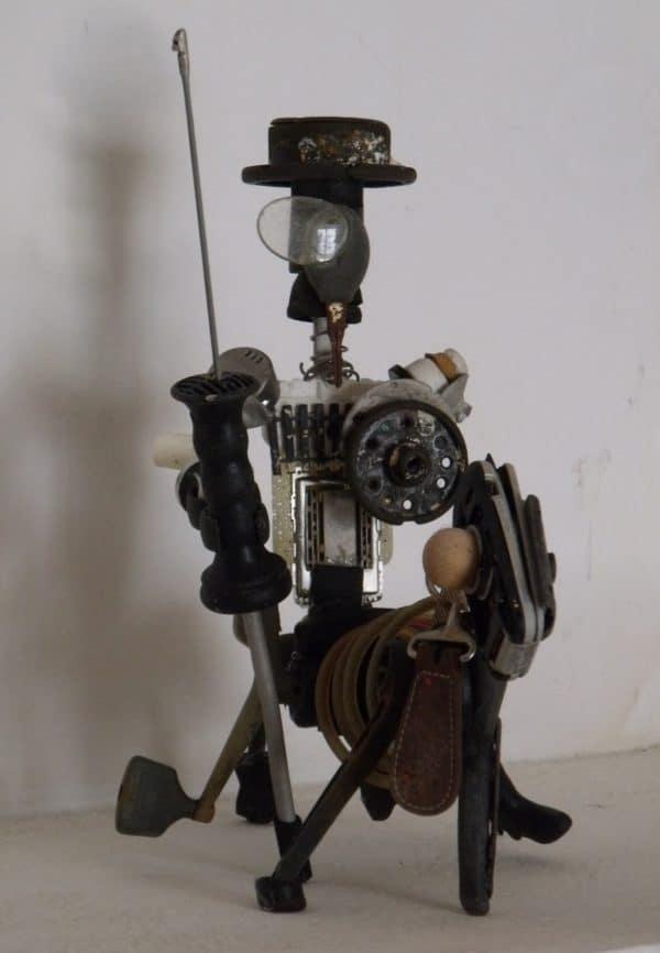 Don Quijote De La Mancha Upcycled Scrap Sculpture 3 • Recycled Art