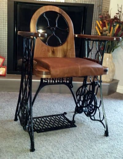 Old Treadle Sewing Machine Converted Into Singer Chair 3 • Recycled Furniture